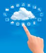 Cloud Computing concept background with hand. Vector illustratio