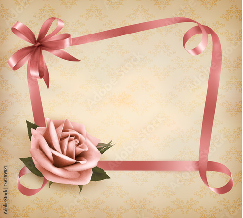 Retro holiday background with pink rose and ribbons. Vector illu