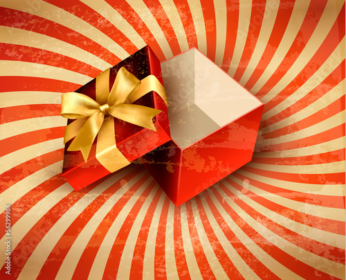 Holiday background with red gift ribbon with open gift box Vecto