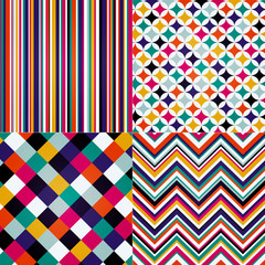 seamless retro stripes, chevron and square pattern