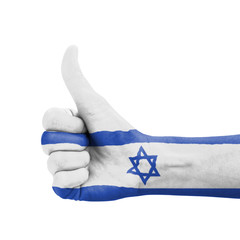 Hand with thumb up, Israel flag painted