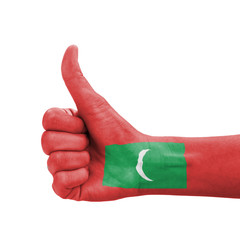 Hand with thumb up, Maldives flag painted