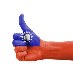 Hand with thumb up, Taiwan flag painted