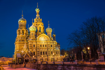 Church of the Savior on Blood at night
