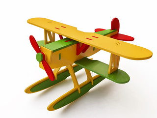 Colorful Toy Seaplane in 3D