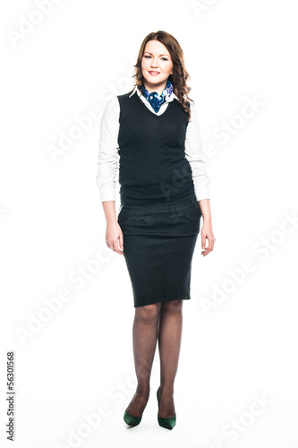 a young and beautiful woman working as a stewardess
