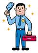 修理、整備をする男性 全身 脱帽