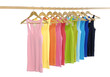 rainbow many peignoir hanging on wooden hangers
