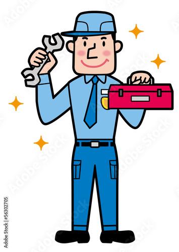 修理、整備をする男性 全身
