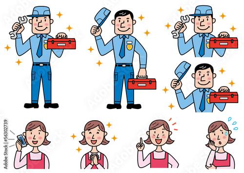 修理、整備をする男性と依頼する女性