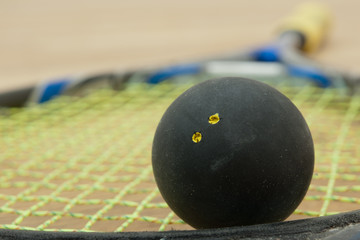 Double yellow dot squash ball on a racket.