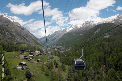 Glacier Paradise cable car climbing out of Zermatt