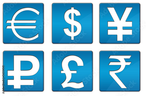 All Currency Icons Blue Square