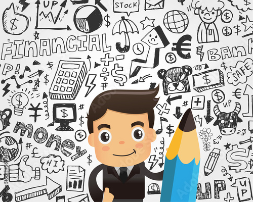 Businessman and doodle business element background