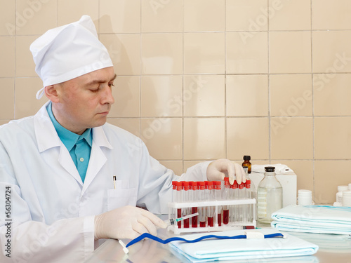 male nurse works  in medical laboratory