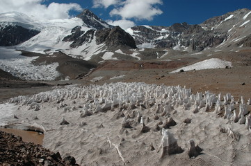 Ice formations at Aconcagua summit