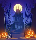Spooky old ghost house. Halloween background.