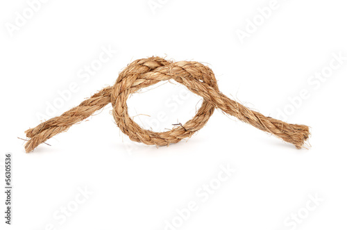 Rope with knot on white background.