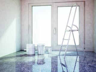 repairing works in the room,