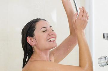 Woman enjoying a shower