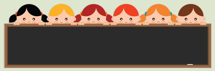 School banner. Kids holding a blackboard. Vector illustration.