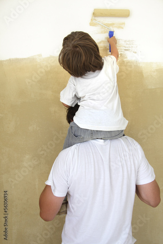 father and son paint room