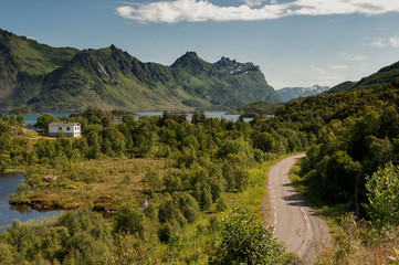 Winding road at Lofoten in northern Norway