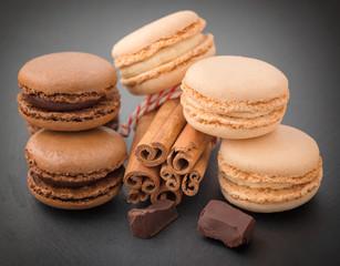 Macaroons with cinnamon and chocolate