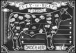 Chalk Charcoal Crayon Hand Drawing Vector Graphic Butchery Blackboard Butcher Shop Store Signage Set Antique Food Typography Meat Cut Scheme. Vintage Etched Beef Drawn Chalkboard Pub Grill Black Board - 56308184