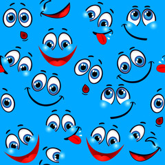 Seamless pattern - funny faces on a blue background