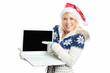 Weihnachtsfrau mit Laptop