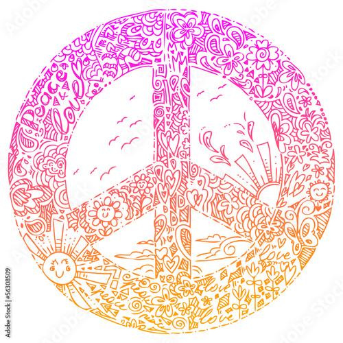Pink PEACE symbol sketched doodles