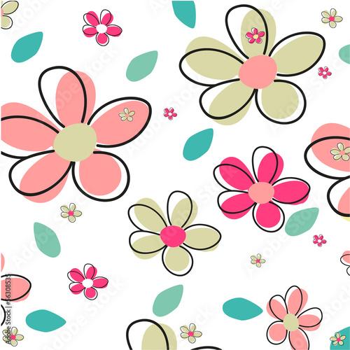 Tuinposter Abstract bloemen Seamless Summer Flower Vector Background