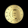 Beautiful golden Euro coin isolated on black with clipping path