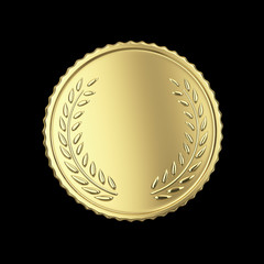 Golden medal render isolated with clipping path