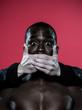 african man Freedom of speech concept