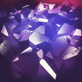 Beautiful abstract purple crystals backgournd - cgi render. poster