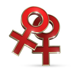 3D red lesbian symbol - computer generated render