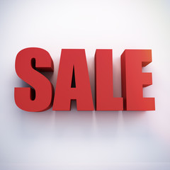 Red 3D SALE on white wall - cg render