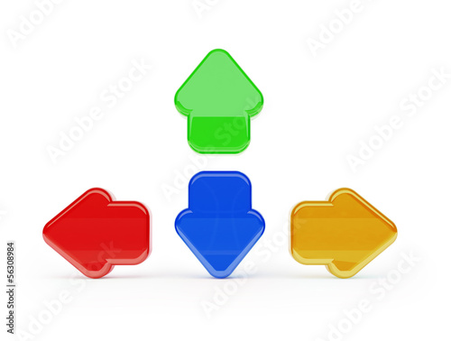 colorful 3d agame arrows isolated with clipping path