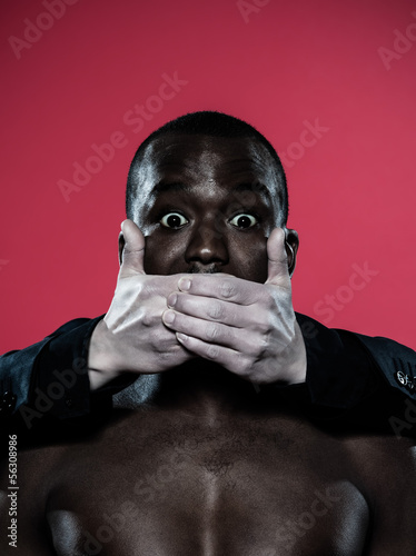 african man Freedom of speech concept
