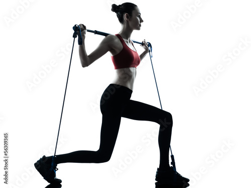 woman exercising gymstick