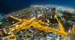 Dubai downtown night scene with city lights,