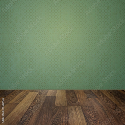 Vintage interior with grunge background and wooden floor
