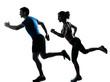 man woman runner running jogging sprinting