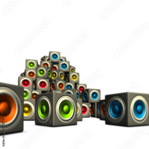 3d stack of multiple color cubic sound system woofer on white