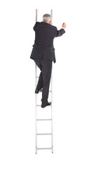 Mature businessman climbing career ladder