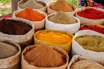 Morocco, spices at market