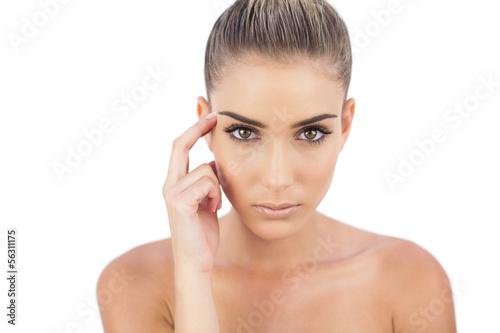Severe woman looking at camera
