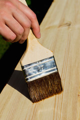 Hand holding painting brush